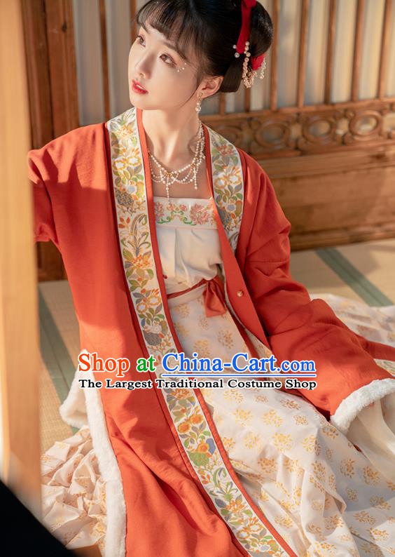 Traditional China Song Dynasty Princess Zhao Huirou Hanfu Clothing Ancient Court Lady Embroidered Costumes Full Set