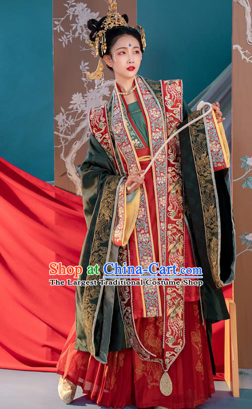 China Song Dynasty Traditional Wedding Embroidered Costumes Ancient Court Empress Cao Danshu Hanfu Clothing
