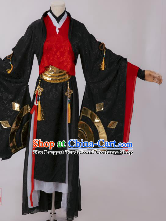 Chinese Southern and Northern Dynasties Swordswoman Costumes Ancient Chivalrous Female Hanfu Dress Black Apparels