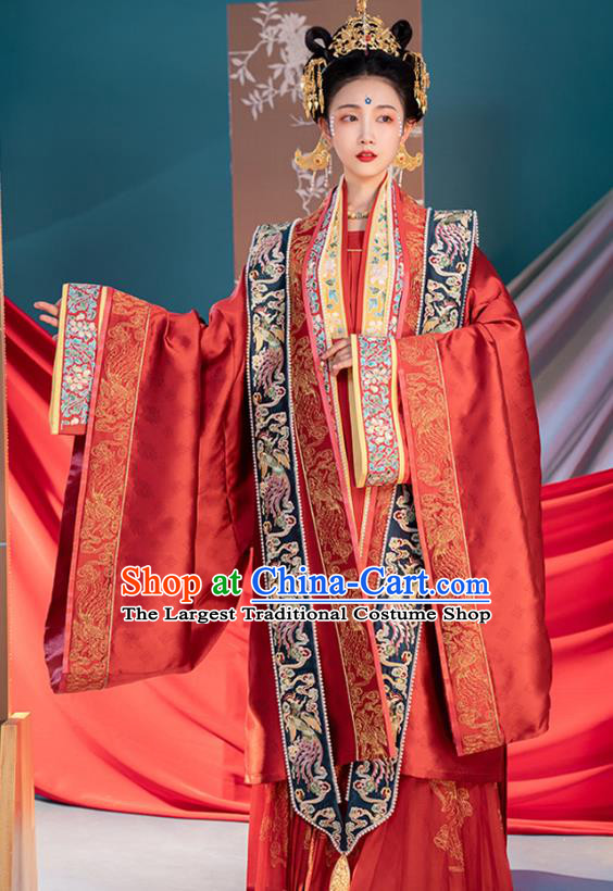 Ancient Song Dynasty Wedding Hanfu Clothing China Court Empress Embroidered Costumes Full Set