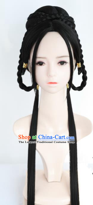 Chinese Cosplay Ming Dynasty Princess Wigs Best Quality Wigs China Wig Chignon Ancient Young Lady Wig Sheath
