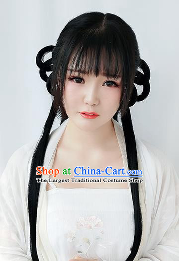 Chinese Ming Dynasty Young Girl Wigs Best Quality Wigs China Cosplay Wig Chignon Ancient Village Lady Wig Sheath