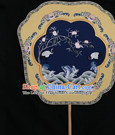 China Suzhou Embroidery Double Side Fan Palace Fan Classical Dance Navy Silk Fans Ancient Bride Fan
