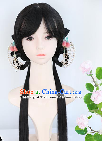 Chinese Ming Dynasty Wigs Best Quality Wigs China Cosplay Wig Chignon Ancient Young Lady Wig Sheath