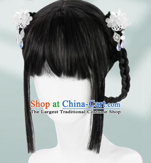 Chinese Song Dynasty Noble Lady Bangs Wigs Quality Wigs China Best Chignon Wig Ancient Young Girl Wig Sheath and Hair Sticks