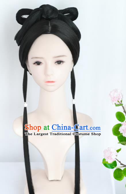 Chinese Song Dynasty Noble Lady Wigs Best Quality Wigs China Cosplay Wig Chignon Ancient Female Wig Sheath