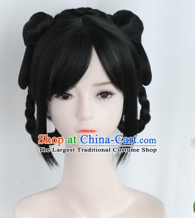 Chinese Song Dynasty Village Lady Wigs Best Quality Wigs China Cosplay Wig Chignon Ancient Young Female Wig Sheath