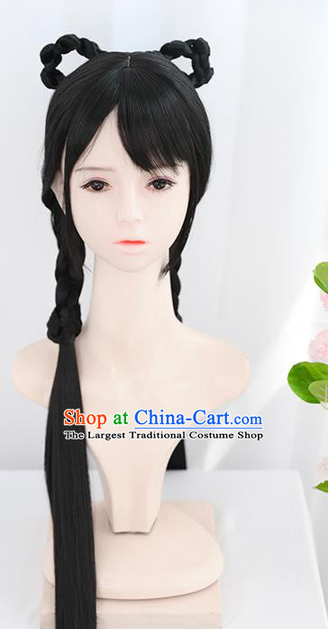 Chinese Zhou Dynasty Noble Lady Wigs Best Quality Wigs China Cosplay Wig Chignon Ancient Young Woman Wig Sheath