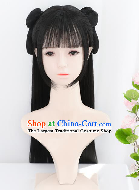 Chinese Song Dynasty Noble Lady Bangs Wigs Best Quality Wigs China Cosplay Wig Chignon Ancient Young Girl Wig Sheath