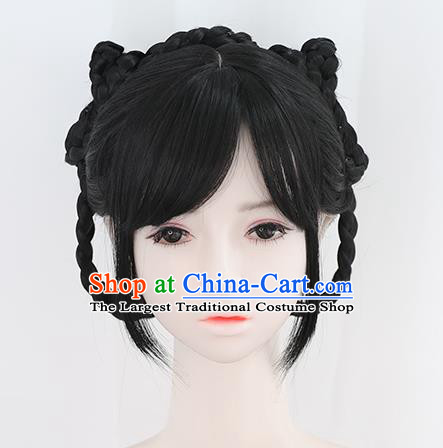 Chinese Ming Dynasty Noble Lady Bangs Wigs Best Quality Wigs China Cosplay Wig Chignon Ancient Young Girl Wig Sheath