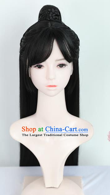 Chinese Jin Dynasty Female Knight Bangs Wigs Best Quality Wigs China Cosplay Wig Chignon Ancient Swordswoman Wig Sheath