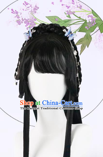 Chinese Song Dynasty Young Lady Bangs Wigs Quality Wigs China Best Chignon Wig Ancient Village Girl Wig Sheath