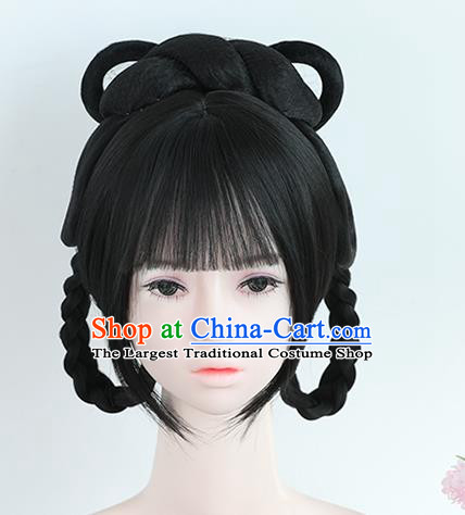 Chinese Song Dynasty Princess Bangs Wigs Best Quality Wigs China Cosplay Wig Chignon Ancient Young Female Wig Sheath