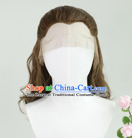 Best Chinese Cosplay Scholar Wig Sheath China Quality Lace Wigs Ancient Swordsman Tang Bohu Brown Wig