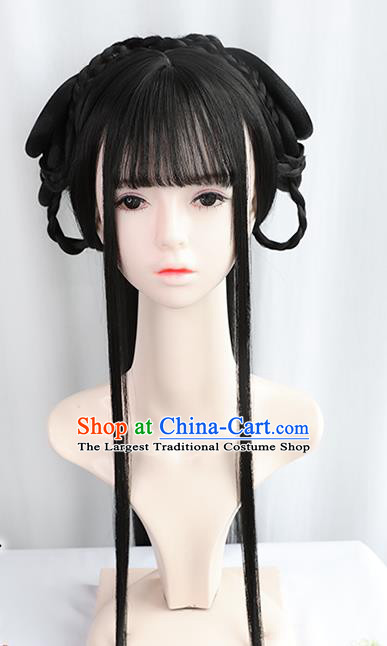 Chinese Jin Dynasty Princess Bangs Wigs Best Quality Wigs China Cosplay Wig Chignon Ancient Court Female Wig Sheath