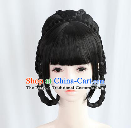 Chinese Tang Dynasty Princess Bangs Wigs Best Quality Wigs China Cosplay Wig Chignon Ancient Palace Lady Wig Sheath