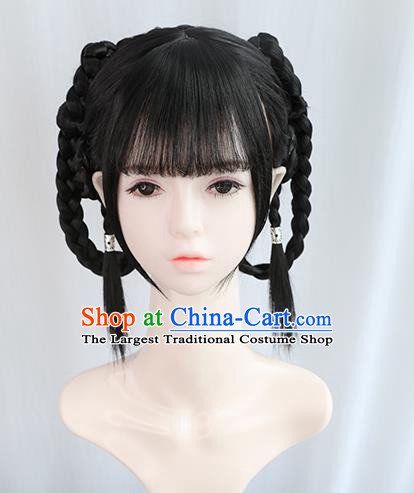 Chinese Song Dynasty Young Lady Bangs Wigs Best Quality Wigs China Cosplay Wig Chignon Ancient Village Girl Wig Sheath