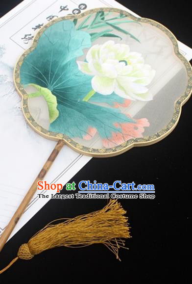 China Classical Silk Fan Handmade Double Side Embroidered Fan Traditional Court Fan Embroidery Lotus Palace Fan