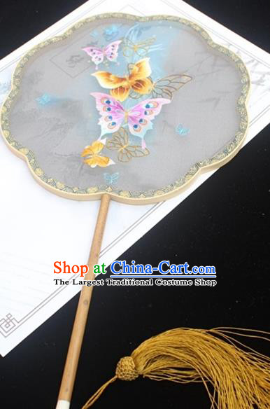 China Handmade Double Side Embroidered Fan Traditional Court Fan Classical Silk Fan Embroidery Butterfly Palace Fan