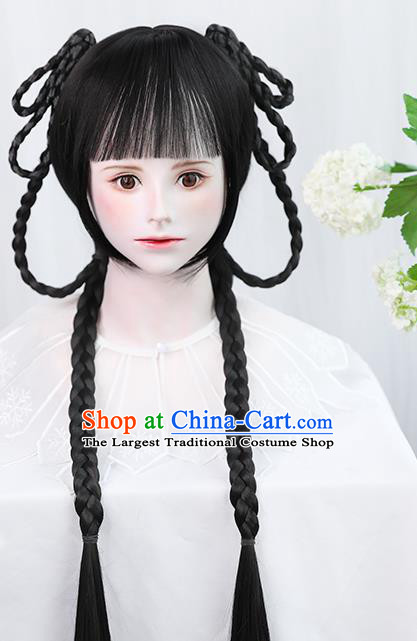 Chinese Qing Dynasty Young Female Bangs Wigs Best Quality Wigs China Cosplay Wig Chignon Ancient Village Girl Wig Sheath