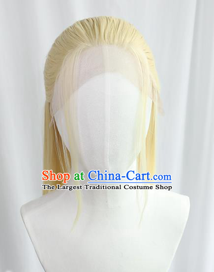 Best Chinese Drama Cosplay Swordsman Golden Wig Sheath China Quality Front Lace Wigs Ancient Noble Prince Wig