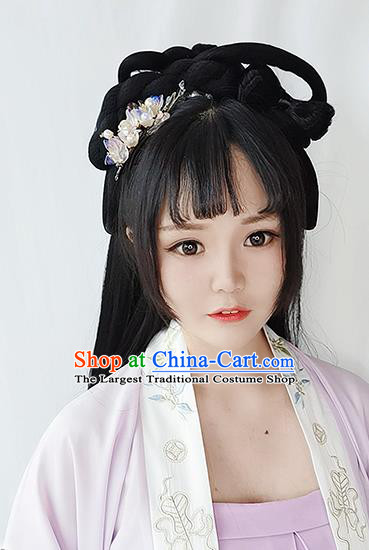 Chinese Song Dynasty Young Lady Wigs Best Quality Wigs China Cosplay Wig Chignon Ancient Noble Girl Wig Sheath