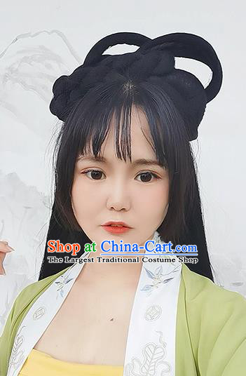 Chinese Song Dynasty Young Lady Double Moon Wigs Best Quality Wigs China Cosplay Wig Chignon Ancient Noble Girl Wig Sheath