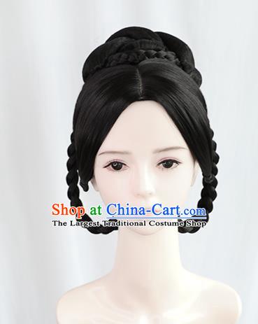 Chinese Song Dynasty Court Woman Wigs Best Quality Wigs China Cosplay Wig Chignon Ancient Princess Wig Sheath