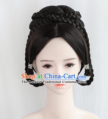 Chinese Song Dynasty Imperial Consort Wigs Best Quality Wigs China Cosplay Wig Chignon Ancient Palace Lady Wig Sheath