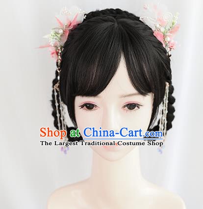 Chinese Song Dynasty Young Lady Bangs Wigs Best Quality Wigs China Cosplay Wig Chignon Ancient Female Wig Sheath
