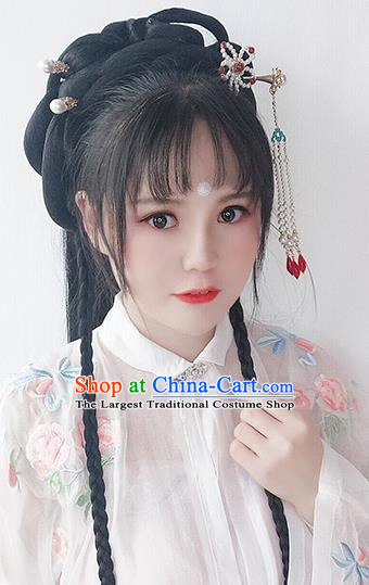 Chinese Ming Dynasty Young Lady Wigs Best Quality Wigs China Cosplay Wig Chignon Ancient Noble Female Wig Sheath