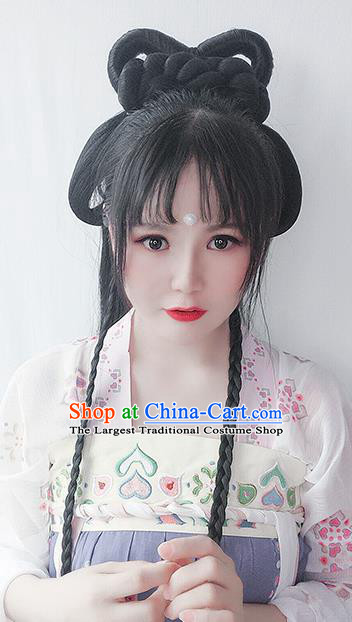 Chinese Tang Dynasty Young Lady Wigs Best Quality Wigs China Cosplay Wig Chignon Ancient Court Female Wig Sheath