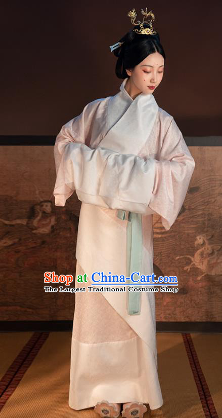 China Ancient Court Princess Hanfu Dress Traditional Han Dynasty Imperial Concubine White Curving Front Robe Historical Costume for Women
