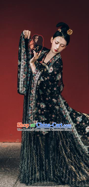 China Ancient Imperial Concubine Black Chiffon Hanfu Dress Traditional Tang Dynasty Historical Costumes Complete Set