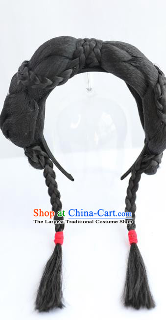 Chinese Ming Dynasty Servant Girl Wig Hairpiece Quality Wig Sheath China Ancient Cosplay Country Lady Wigs Braid Hair Clasp