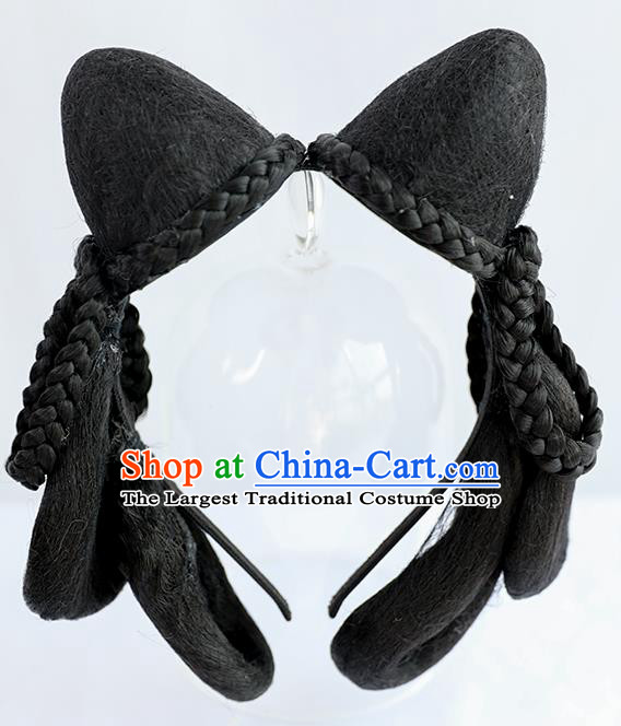 Chinese Song Dynasty Court Maid Wig Hairpiece Quality Wig Sheath China Ancient Cosplay Palace Lady Wigs Chignon Hair Clasp