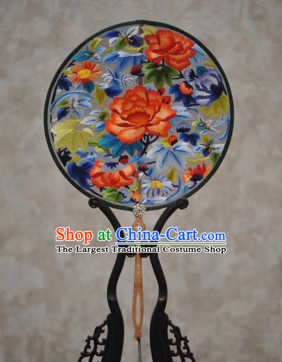 China Traditional Court Hanfu Fan Classical Dance Fan Handmade Embroidery Peony Fans Ancient Palace Fan
