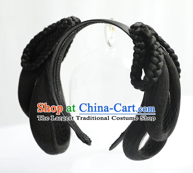 Chinese Jin Dynasty Palace Lady Wig Hairpiece Quality Wig Sheath China Ancient Cosplay Court Maid Wigs Chignon Hair Clasp