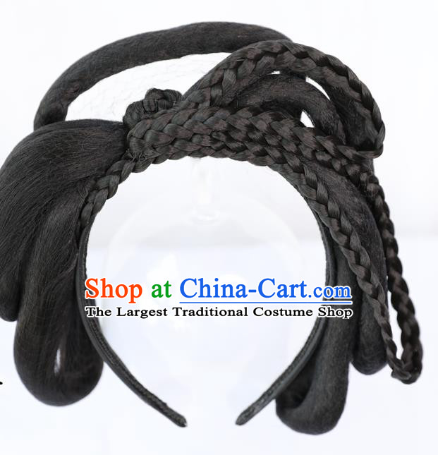 Chinese Ming Dynasty Princess Wig Hairpiece Quality Wig Sheath China Ancient Cosplay Court Lady Wigs Chignon Hair Clasp