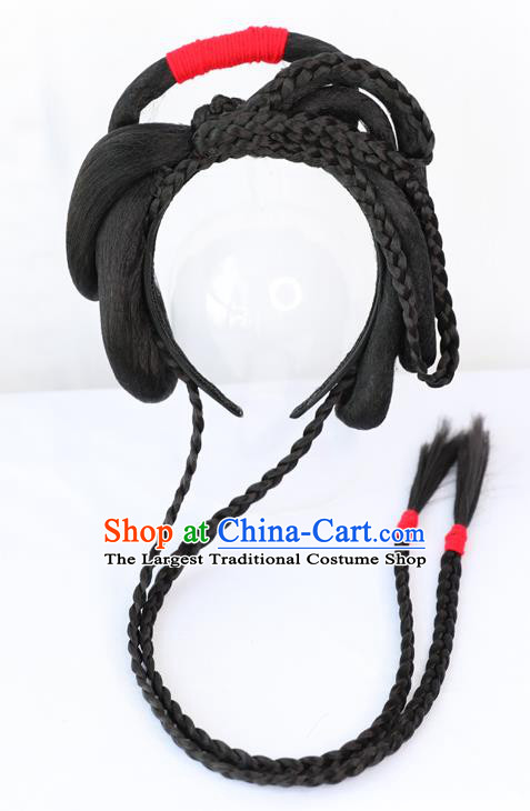 Chinese Qing Dynasty Civilian Lady Wig Hairpiece Quality Wig Sheath China Ancient Cosplay Village Girl Wigs Chignon Hair Clasp