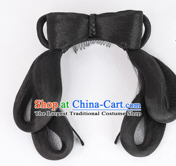 Chinese Tang Dynasty Civilian Lady Wig Hairpiece Quality Wig Sheath China Ancient Cosplay Village Girl Wigs Chignon Hair Clasp