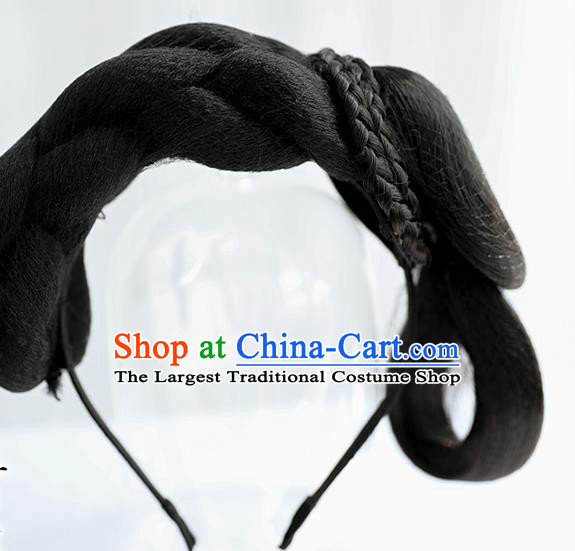 Chinese Ming Dynasty Noble Lady Wig Hairpiece Quality Wig Sheath China Ancient Cosplay Princess Wigs Chignon Hair Clasp