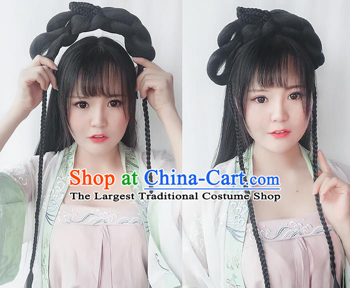 Chinese Song Dynasty Princess Wig Hairpiece Quality Wig Sheath China Ancient Cosplay Palace Lady Wigs Chignon Hair Clasp
