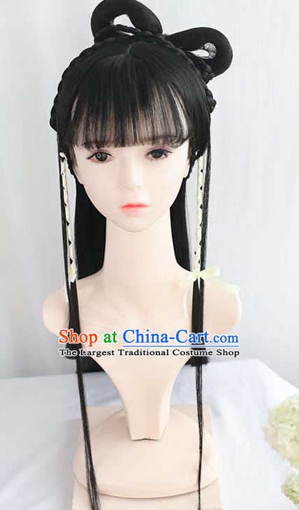 Chinese Song Dynasty Country Lady Bangs Wigs Best Quality Wigs China Cosplay Wig Chignon Ancient Civilian Female Wig Sheath