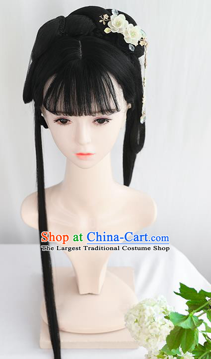 Chinese Song Dynasty Patrician Lady Bangs Wigs Best Quality Wigs China Cosplay Wig Chignon Ancient Princess Wig Sheath
