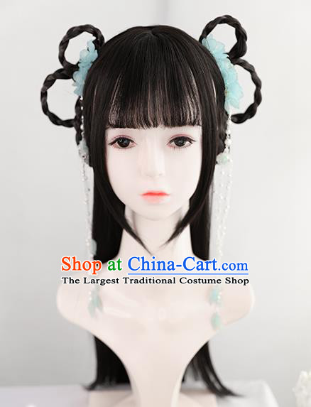 Chinese Song Dynasty Patrician Lady Bangs Wigs Best Quality Wigs China Cosplay Wig Chignon Ancient Servant Girl Wig Sheath