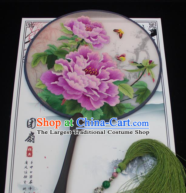 China Handmade Rosewood Fan Embroidery Peony Fan Traditional Exquisite Palace Fan Round Fan