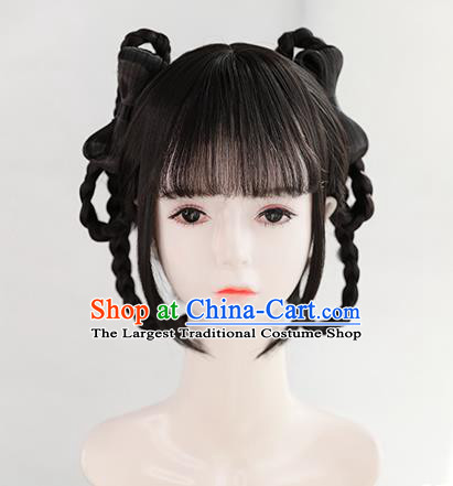 Chinese Song Dynasty Village Girl Bangs Wigs Best Quality Wigs China Cosplay Wig Chignon Ancient Civilian Lady Wig Sheath