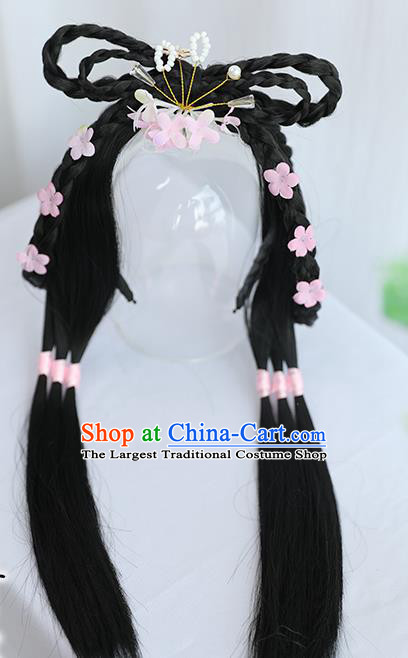 Chinese Song Dynasty Village Girl Hairpiece Quality Wig Sheath China Ancient Cosplay Swordswoman Huang Rong Wigs Hair Clasp