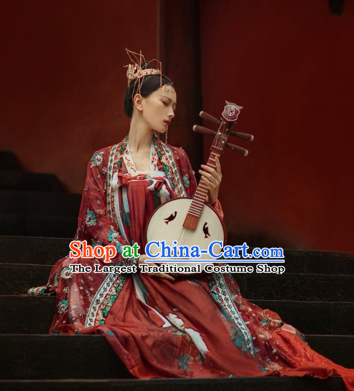 China Ancient Wedding Hanfu Dress Traditional Tang Dynasty Court Princess Historical Costumes Full Set for Women